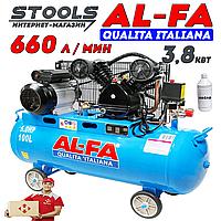 Компрессор AL-FA ALC100-2 : 3.8 кВт - 100 л. |  2-x поршневый масляный