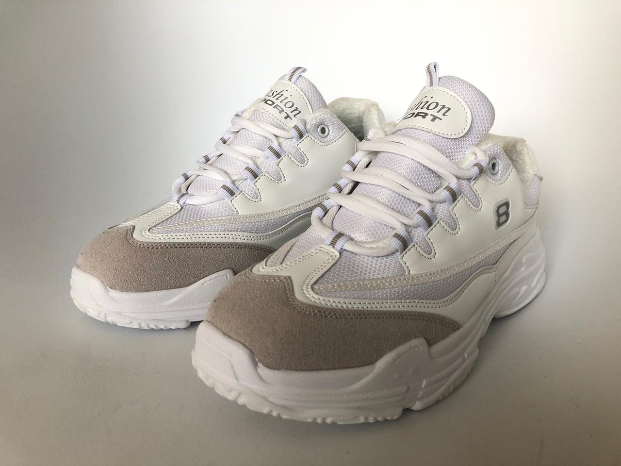 Низкие зимние кроссовки белые