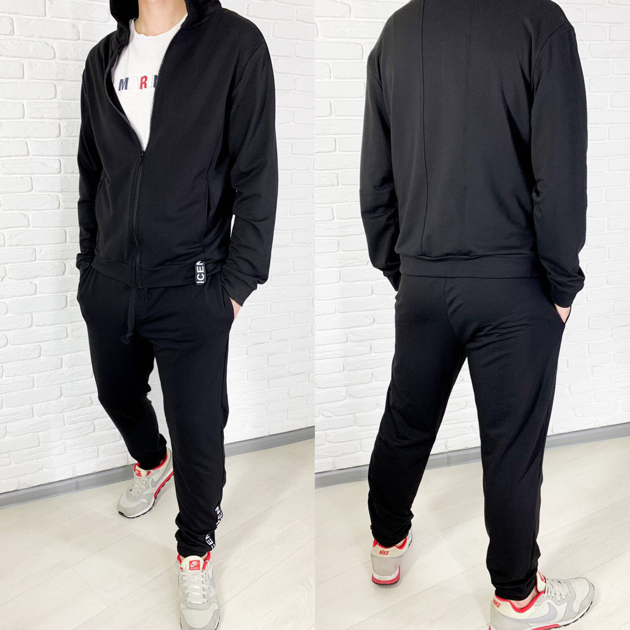 Спортивный костюм мужской чёрный, серый, 46, 48, 50, 52