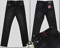 Модные мужские классические джинсы чёрного цвета By Crisson
