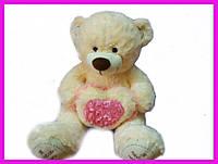 Мягкая Игрушка мишкас сердцемЯ тебя люблю 60 см(без учета длины ног) -  мягкий плюшевый медведь