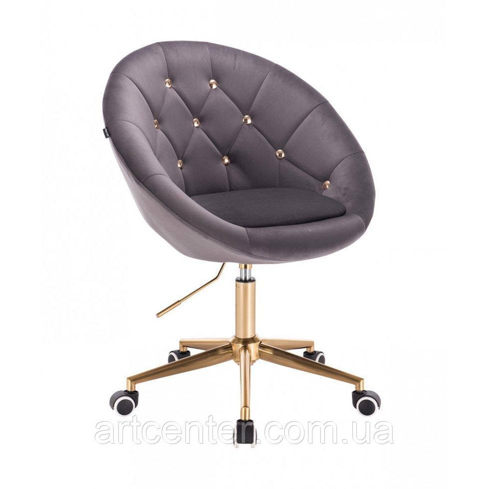 Парикмахерское  кресло HROVE FORM HR8516k графитовый велюр с золотыми пуговицами основа золото