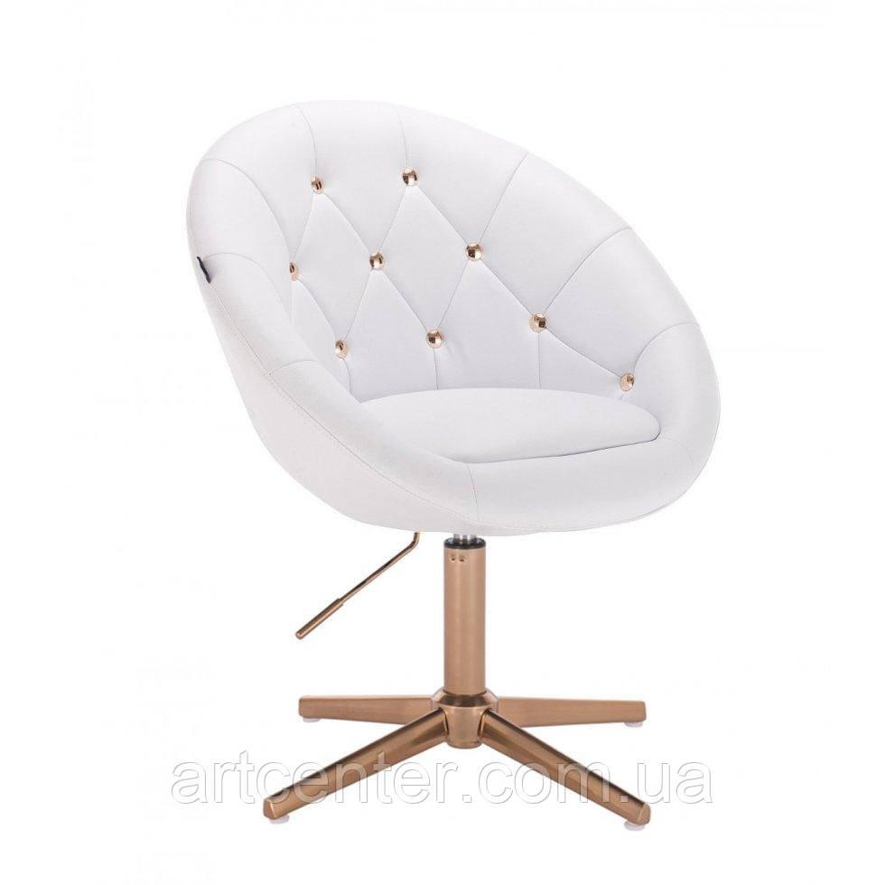 Парикмахерское  кресло HROVE FORM HR8516CROSS белый кожзам с золотыми пуговицами основа золото