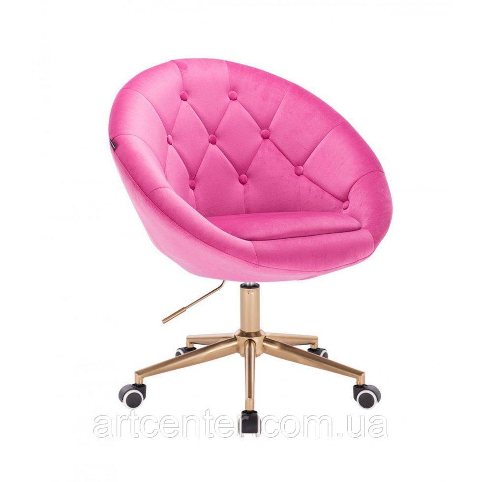 Парикмахерское  кресло HROVE FORM HR8516k малиновый велюр с пуговицами основа золото