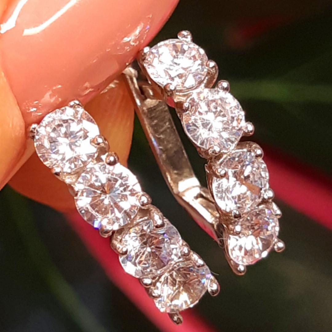 Серебряные серьги дорожка с фианитами - Серьги серебро 4 камня