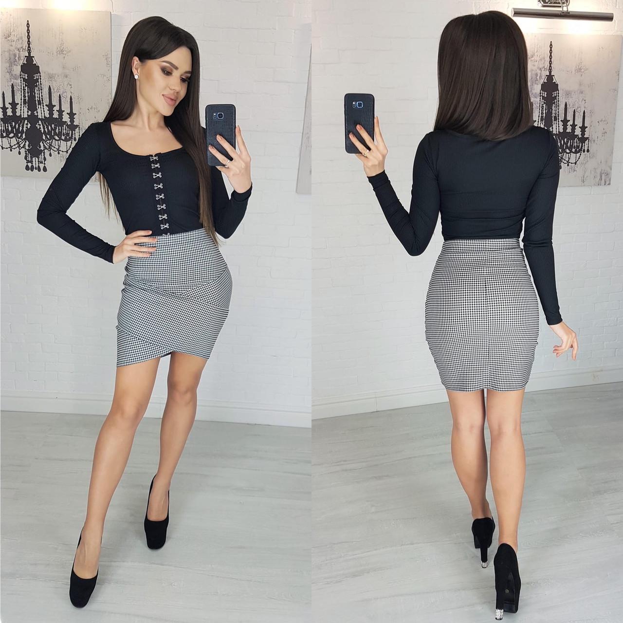 Модная мини юбка в клетку