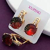 Серьги женские, медицинское золото Xuping. Сережки из мед золота