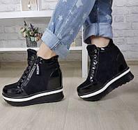 Ботинки женские Евро-Мех 6 пар в ящике черного цвета 36-41