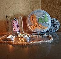 Соляная лампа, ночник, светильник круглый Орел и горы цветной
