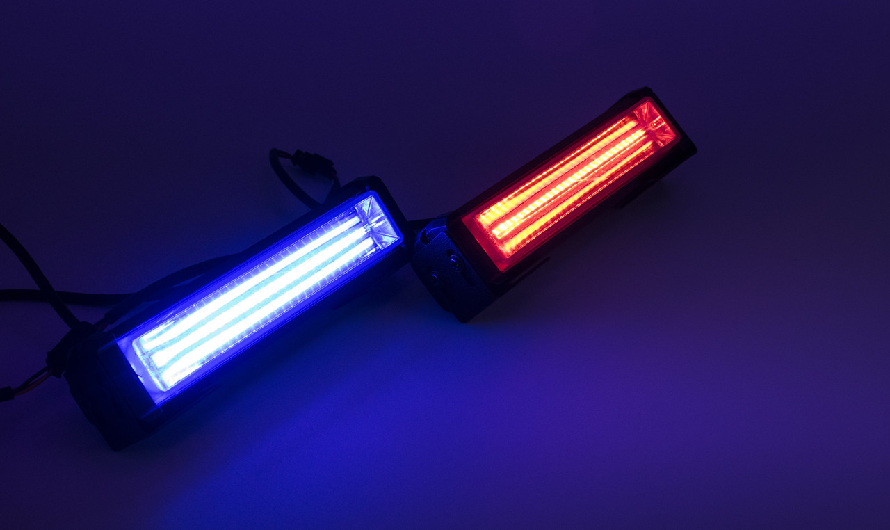 Стробоскопы LED 868A169 / COB1-2 / Сине - Красные (В/Г/Д - 36х41х157мм)