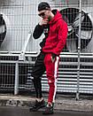 Теплое мужское худи Sad Smile красно-черное, фото 4