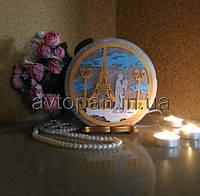 Соляная лампа, ночник, светильник круглый Эйфелева башня и влюбленные