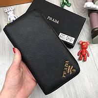 Кожаный мужской кошелек на молнии Prada черный Качество натуральная кожа Стильный бумажник Прада реплика