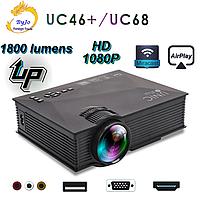 Мультимедийный Wi-Fi проектор UNIC 68 BK, домашний кинотеатр 1800 люмен,светодиодный проектор с HD 1080p