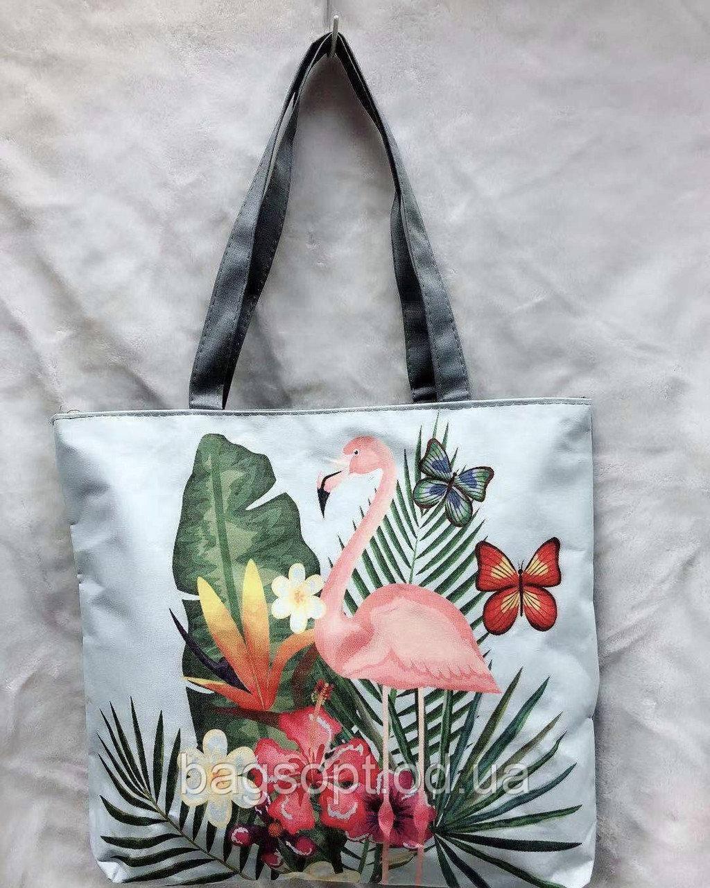 Эко сумка шоппер тканевая летняя пляжная с принтом фламинго
