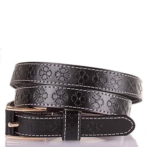 Женский узкий кожаный ремень ETERNO (ЭТЕРНО) ETS5182-2 черный