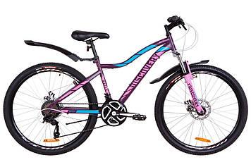 """Велосипед 26"""" Discovery KELLY AM 14G DD St с крылом Pl 2019 (фиолетово-розовый с голубым (м))"""