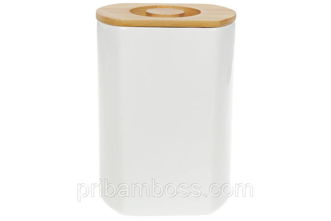 Банка фарфоровая для сыпучих продуктов с бамбуковой крышкой Naturel, 1,6 л
