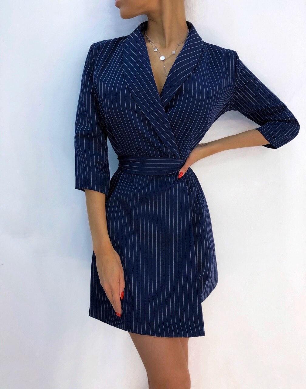 Платье в полоску на запах с отложным воротником и рукавом 3/4 vN6633