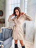 Кожаное платье на запах с длинным рукавом и поясом vN6634, фото 2