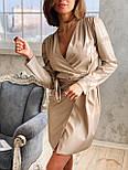 Кожаное платье на запах с длинным рукавом и поясом vN6634, фото 3