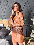Кожаное платье на запах с длинным рукавом и поясом vN6634, фото 4