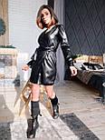 Кожаное платье на запах с длинным рукавом и поясом vN6634, фото 7
