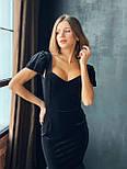 Бархатное платье миди годе с вырезом декольте и коротким рукавом vN6638, фото 2