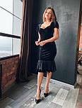 Бархатное платье миди годе с вырезом декольте и коротким рукавом vN6638, фото 3