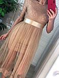 Платье с фатиновой юбкой и кружевным верхом с коротким рукавом vN6644, фото 2