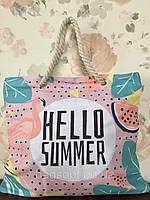Пляжная сумка с канатными ручками с принтом Фламинго и Арбуз