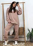 Женский объемный спортивный костюм с начесом и удлиненным худи vN6651, фото 2