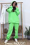 Женский объемный спортивный костюм с начесом и удлиненным худи vN6651, фото 3