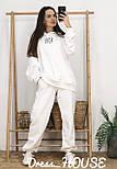 Женский объемный спортивный костюм с начесом и удлиненным худи vN6651, фото 5