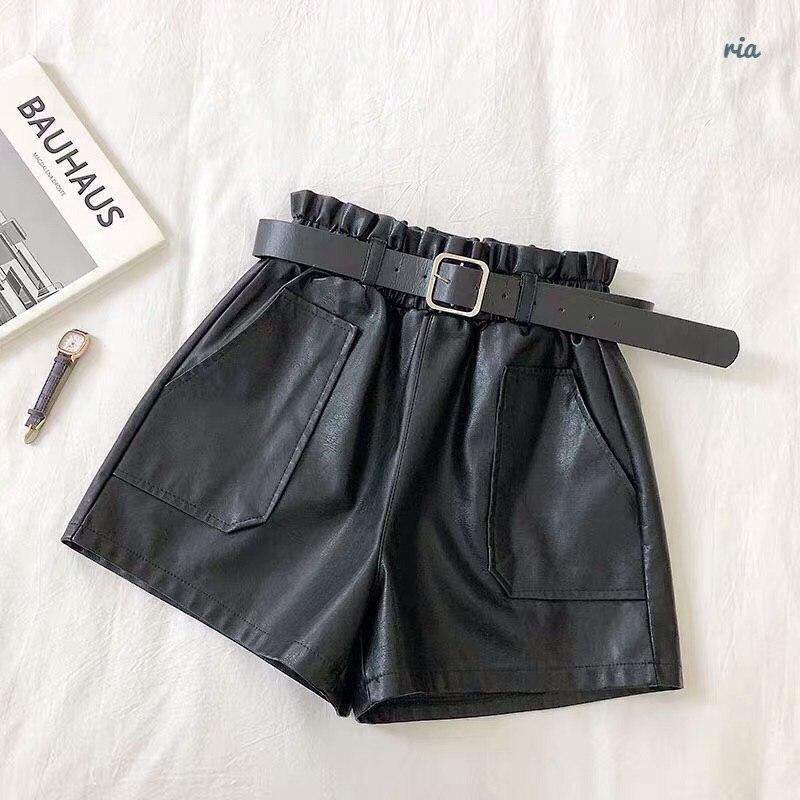 Женские кожаные шорты с поясом и накладными карманами vN6665