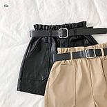 Женские кожаные шорты с поясом и накладными карманами vN6665, фото 5