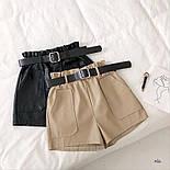 Женские кожаные шорты с поясом и накладными карманами vN6665, фото 6