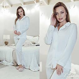 Шелковая женская брючная пижама с рубашкой на пуговицах vN6669