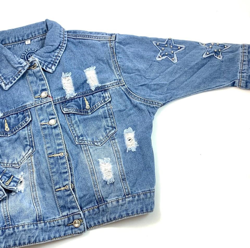 Джинсовая куртка оверсайз для девочки Resser Звезда 1212 (р.8/9 лет)