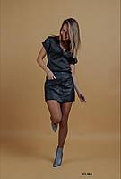 Юбка-шорты кожаная 321 МА, фото 1