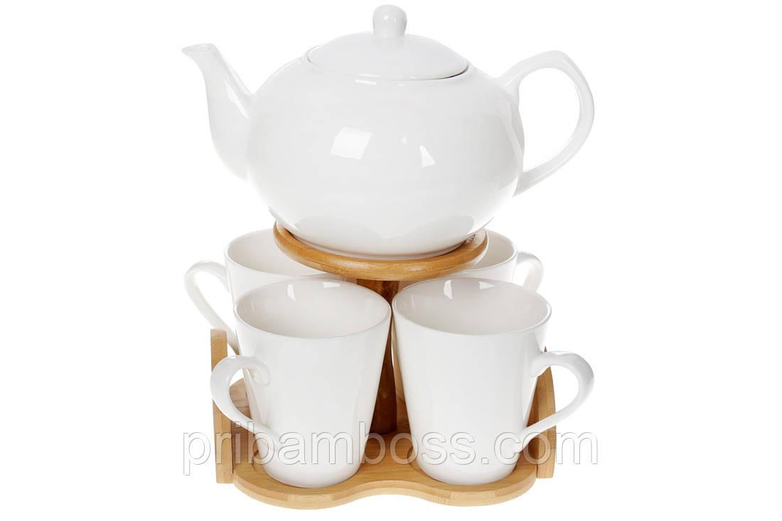 Набор чайный фарфоровый на 4 персоны: чайник и кружки на подставке Naturel