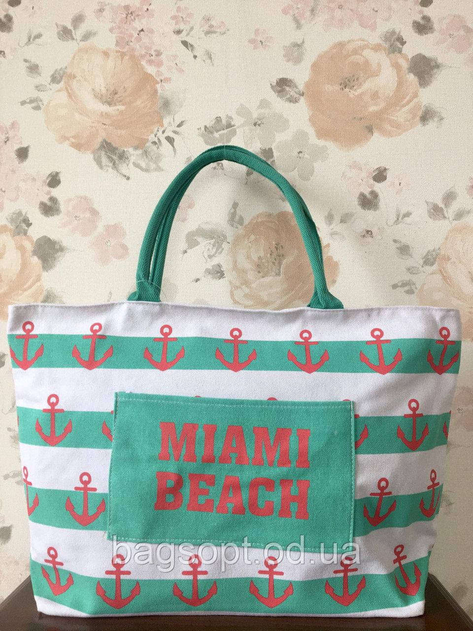 Большая тканевая (коттоновая) пляжная сумка Якорь