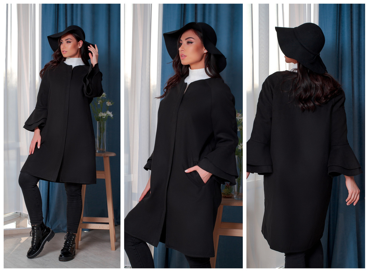 Женское стильное кашемировое пальто рюш свободного фасона на змейке размер:46-48, 50-52, 54-56, 58-60