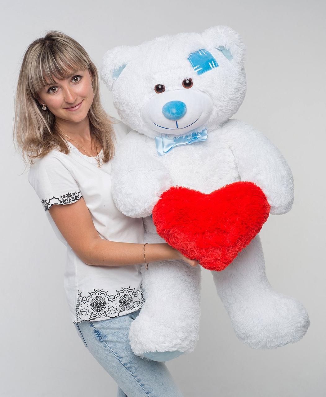 Плюшевий ведмедик із серцем Mister Medved Латки Білий 100 см