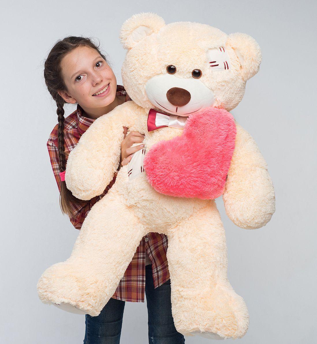 Плюшевий ведмедик із серцем Mister Medved Латки Бежевий 100 см
