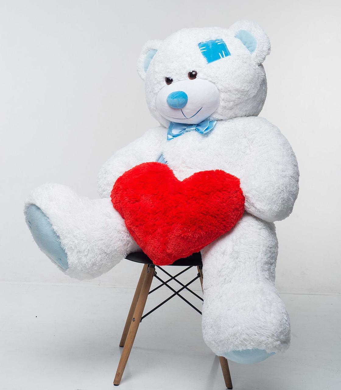 Плюшевий ведмедик із серцем Mister Medved Латки Білий 150 см