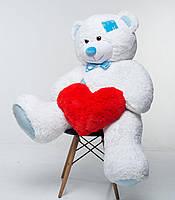 Плюшевый мишка с сердцем Mister Medved Латки Белый 150 см, фото 1