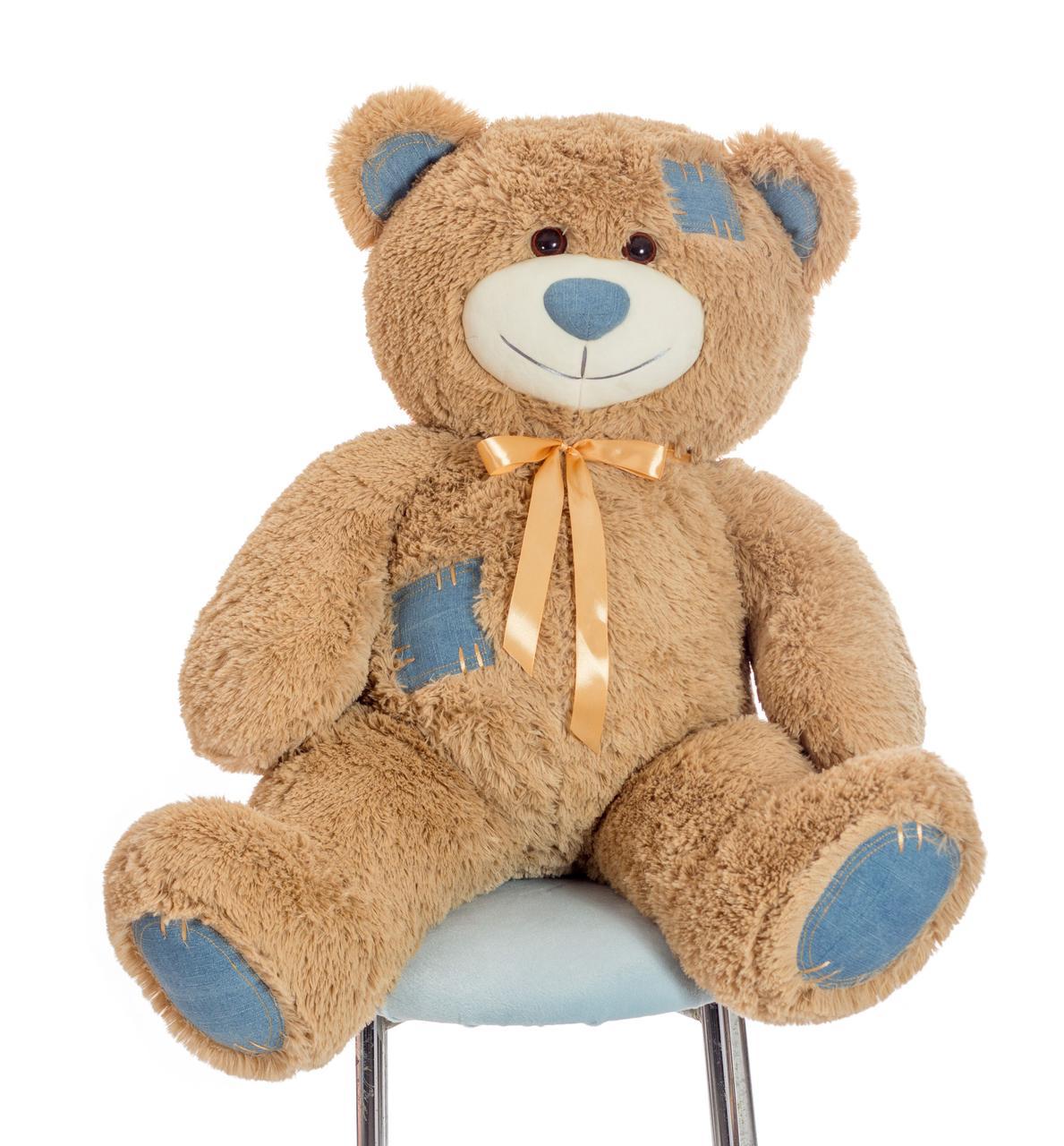 Плюшевий ведмедик Mister Medved Латте з джинсовими латками 100 см