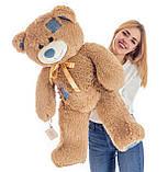 Плюшевий ведмедик Mister Medved Латте з джинсовими латками 100 см, фото 4