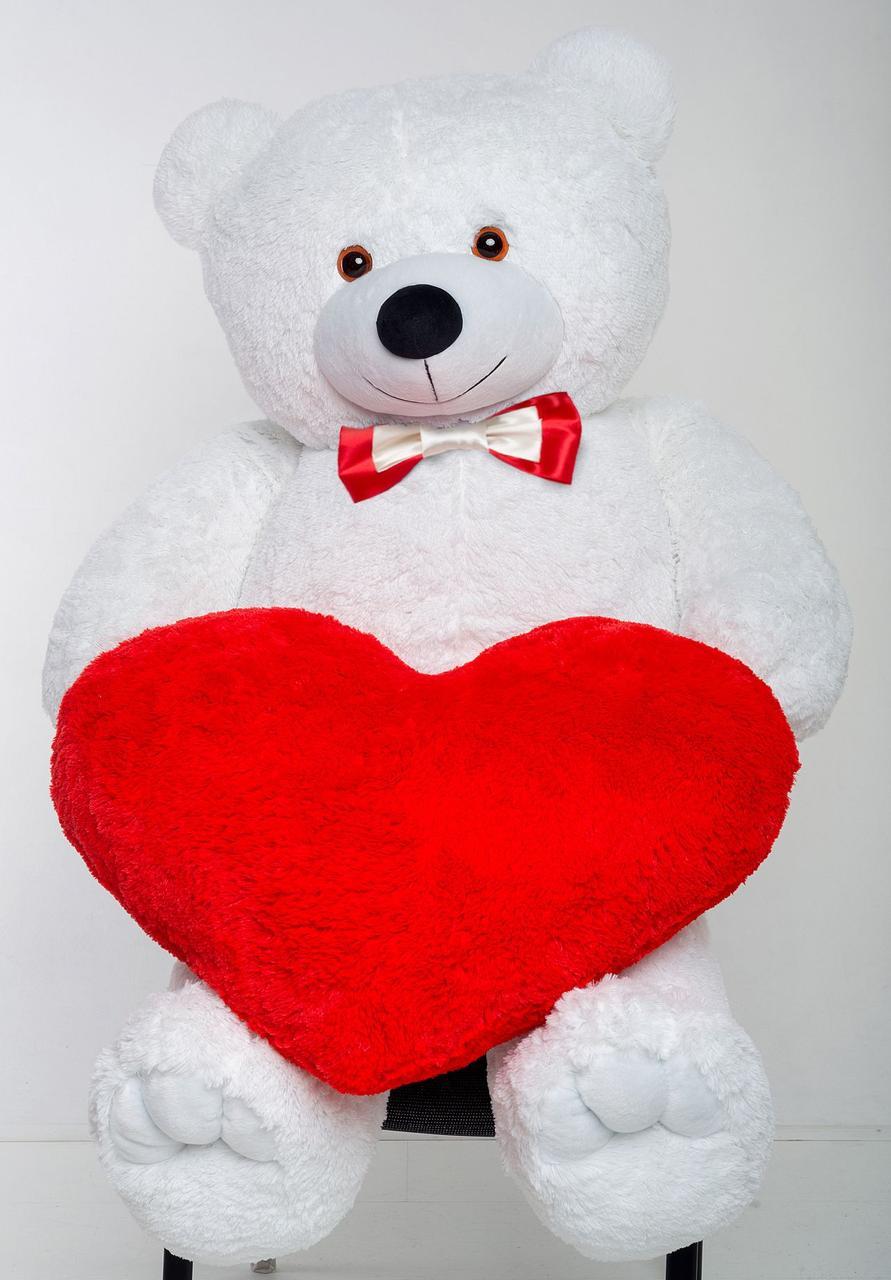 Мишка с сердцем Mister Medved Белый 2 метра